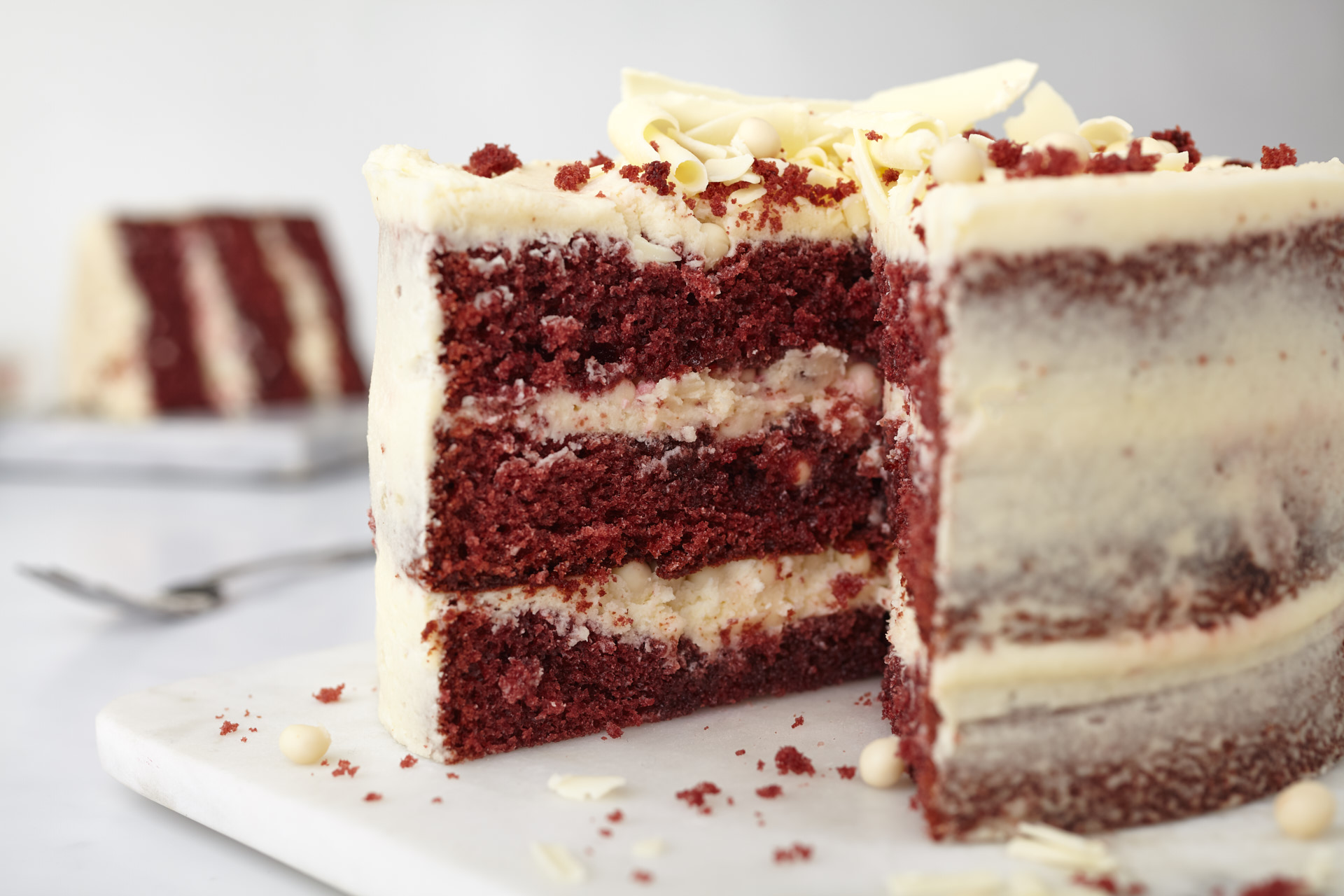 The most incredible Red Velvet Cake with Cream Cheese Frosting! Park Cakes Bakery